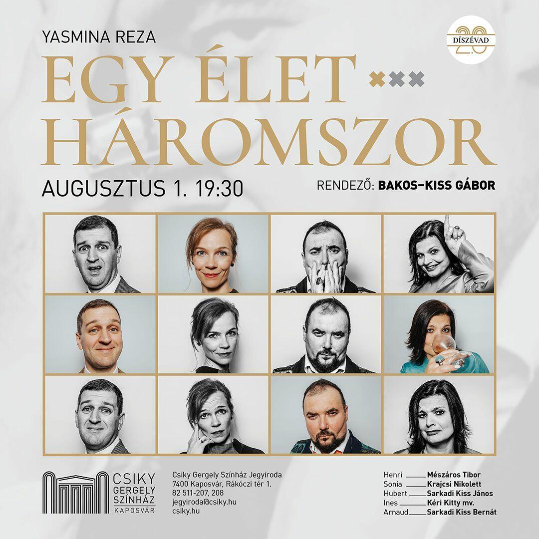 A(z) Egy élet háromszor című előadás plakátja